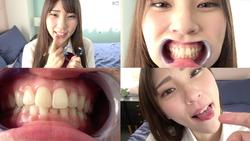 【歯・口内】人気女優 竹内夏希チャンの歯・口内観察&指フェラプレイ!