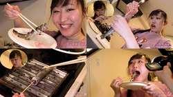 【生き物】小川ひまりちゃんがイワナを生きたまま串焼きにして食べる!【食事】